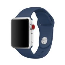 Řemínek pro Apple Watch 44mm Series 4 / 5 / 6 / SE / 42mm 1 / 2 / 3 - velikost S / M - silikonový - tmavě modrý