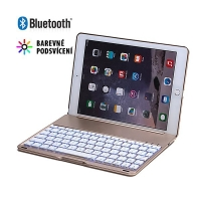 Klávesnice Bluetooth + kryt pro Apple iPad Air 2 / Pro 1. gen - barevné podsvícení - zlatá
