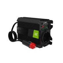 Měnič napětí / invertor / nabíječka GREENCELL USB-A do auta - 12 / 24V na EU 230V / 0,6A + USB 5V / 2,1A - hliníkový - černý