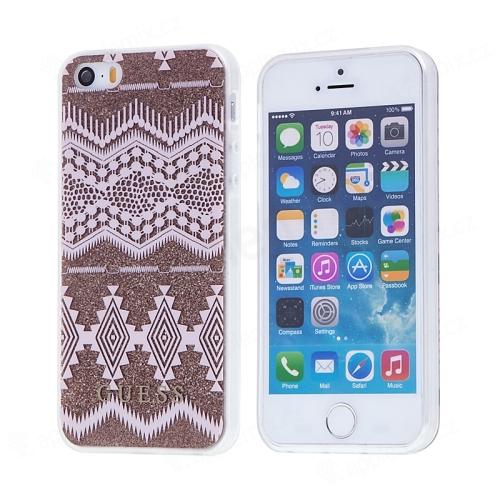 Kryt GUESS Ethnic Chic Tribal pro Apple iPhone 5   5S   SE - gumový -  růžový   zlatý ce7e11036ff