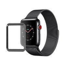 Tvrzené sklo (Tempered Glass) pro Apple Watch 38mm Series 3 - 3D okraj - černé / čiré