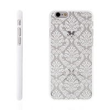 Plastový kryt pro Apple iPhone 6 / 6S - vzor damašek - bílý