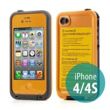 Voděodolné plastové pouzdro Redpepper pro Apple iPhone 4 / 4S - oranžové s černým rámečkem