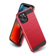 Kryt pro Apple iPhone 12 / 12 Pro - broušený povrch - plastový / gumový - černý / červený
