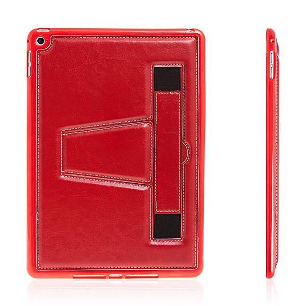 Gumový kryt + stojánek pro Apple iPad Air 2 - pásek na ruku - červený