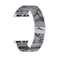 Řemínek pro Apple Watch 44mm Series 4 / 42mm 1 2 3 - magnetický - nerez - maskáčový - šedý / černý