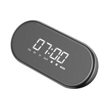 Bezdrátový Bluetooth reproduktor BASEUS + digitální hodiny / budík - plast / silikon - černý