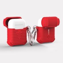 Pouzdro / obal pro Apple AirPods - silikonové - odolné - poutko na zavěšení + karabina - červené
