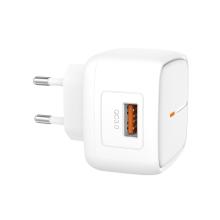Nabíječka / EU napájecí adaptér XO L59 - 1x USB - 18W QuickCharge - bílý