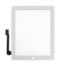 Dotykové sklo (touch screen) pro Apple iPad 4.gen. - osazené - Home Button + konzole na fotoaparát - bílé - kvalita A