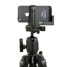 Univerzální držák na stativ / selfie tyč pro Apple iPhone a další mobilní telefony do šíře 6cm - černý