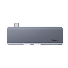 Redukce / adaptér BASEUS USB-C na USB-C + 2x USB-A 3.0 + SD + MicroSD - bez kabelu - kovová - šedá