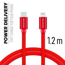 Synchronizační a nabíjecí kabel SWISSTEN - USB-C - Lightning pro Apple zařízení - tkanička - červený - 1,2m