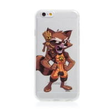 Kryt MARVEL pro Apple iPhone 6 / 6S - Strážci Galaxie - Rocket a Groot - gumový - průhledný