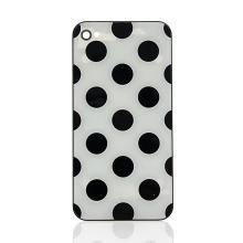 Náhradní zadní kryt (sklo) pro Apple iPhone 4 - bílý s černými puntíky
