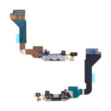 Flex kabel s napájecím a datovým konektorem + SMD mikrofon pro Apple iPhone 4 - černý - kvalita A+