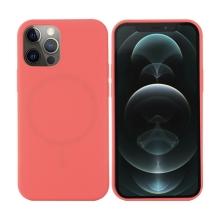 Kryt pro Apple iPhone 12 Pro Max - Magsafe - silikonový - zářivě růžový