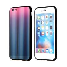 Kryt pro Apple iPhone 6 / 6S - barevný přechod a lesklý efekt - gumový / skleněný - růžový / černý