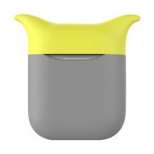 Pouzdro / obal pro Apple AirPods - silikonové - šedé / žluté - čert
