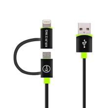 2v1 synchronizační a nabíjecí kabel KALAIXING - MFi certifikovaný Lightning + Micro USB - černý