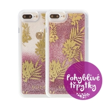 Kryt GUESS Palm Spring Rose pro Apple iPhone 6 Plus / 6S Plus / 7 Plus / 8 Plus - plastový - glitter / růžové třpytky