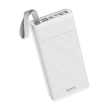 Externí baterie / power bank HOCO J73 - 30000 mAh - 2x USB + USB-C + Lightning + LED lampička - bílá