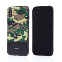 Kryt MOKKA pro Apple iPhone X - plast / umělá kůže - maskáčový / černý