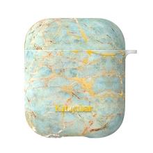 Pouzdro / obal KAVARO pro Apple AirPods - plastový - mramorová textura - modré