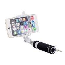 Mini selfie tyč BLUN teleskopická - kabelová spoušť - 3,5mm jack - černá