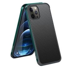 Kryt SULADA pro Apple iPhone 12 / 12 Pro - gumový / kovový - karbonová textura - průhledný - tmavě zelený