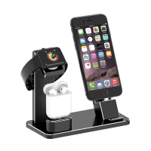 Nabíjecí stanice / stojánek pro Apple iPhone + AirPods + Watch - těžký - hliníkový - černý / stříbrný