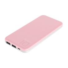 Externí baterie / power bank PURIDEA - 10000 mAh - 2x USB, 3A - bílá / růžová