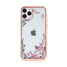 Kryt FORCELL Diamond pro Apple iPhone 11 Pro Max - gumový - květiny a kamínky - růžový rámeček