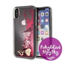 Kryt GUESS Liquid Glitter pro Apple iPhone X / Xs - plastový - růžové (malinové) třpytky