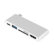 Redukce / adaptér USB-C na USB-C + USB-A 3.0 + SD + MicroSD + HDMI - bez kabelu - kovová - stříbrná