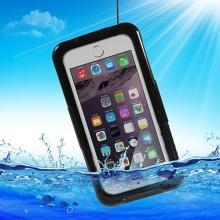 Voděodolné plasto-silikonové pouzdro pro Apple iPhone 6 / 6S / 7 - černo-průhledné