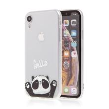 Kryt pro Apple iPhone Xr - gumový - průhledný / mávající panda