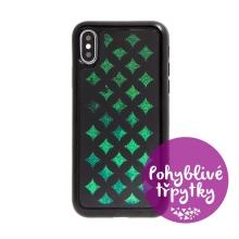 Kryt pro Apple iPhone X / Xs - pohyblivé třpytky - geometrické tvary - černý / zelený
