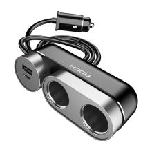 Autonabíječka a rozdvojka ROCK - USB-A + USB-C + 2x zdířka zapalovače - černá / šedá