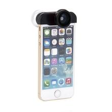 Multifunkční objektiv 4v1 pro Apple iPhone 5 / 5S / SE - 2x 180° rybí oko / 0,67x širokoúhlý objektiv / makro objektiv