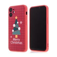 Kryt pro Apple iPhone 12 mini - vánoční - gumový - červený / stromeček