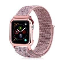 Řemínek pro Apple Watch 44mm Series 4 + pouzdro - nylonový - světle růžový