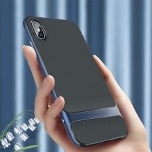 Kryt ROCK Royce pro Apple iPhone Xs Max - gumový / plastový - černý / modrý
