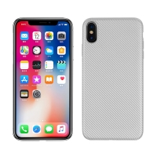 Kryt pro Apple iPhone Xs Max - karbonová textura - gumový - stříbrný