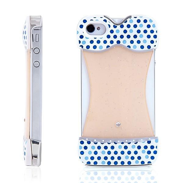 Ochranný kryt bikiny pro Apple iPhone 4/4S - bílý s modrými puntíky a zrcadlovým efektem na zadní straně