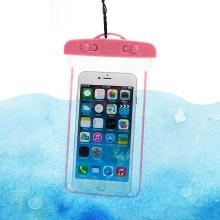 Pouzdro pro Apple iPhone - voděodolné - plast / guma - průhledné / růžové