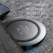 Bezdrátová nabíječka / nabíjecí podložka Qi BASEUS integrovaný kabel - kov / silikon - černá