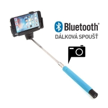 Teleskopická selfie tyč / monopod bluetooth - modrá