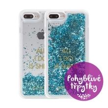 Kryt GUESS Shine pro Apple iPhone 6 / 6S / 7 / 8 - plastový - glitter / modré třpytky