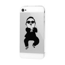 Náhradní zadní kryt ve stylu PSY Gangnam Style pro Apple iPhone 4S - stříbrno-bílý